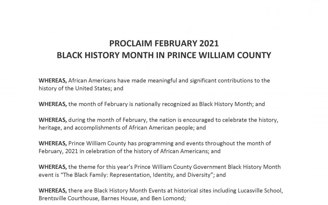 Black History Month Proclamation 2021